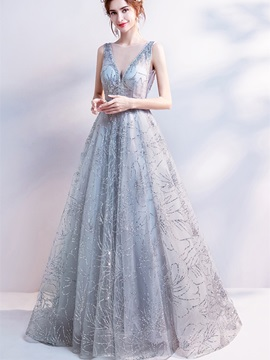 A-Line V-Neck Lace Beading Sequins Evening Dress