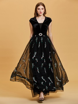 Scoop Neck Cap Sleeves  Embroidery A Line Evening Dress & fairy Evening Dresses