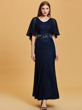 Scoop Neck Half Sleeves Lace Mermaid Evening Dress & colored Evening Dresses