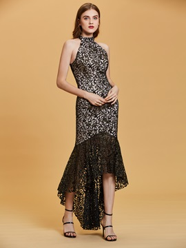 Halter Neck Lace Mermaid Evening Dress