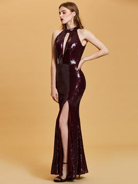 Halter Neck Sequins Mermaid Evening Dress 2019