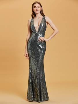 V Neck Criss-Cross Straps Sequins Sheath Evening Dress & Evening Dresses under 100