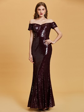 Sequins Off-the-Shoulder Mermaid Evening Dress