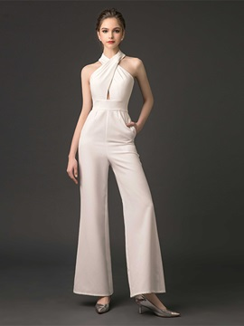 Sheath Backless Halter Pleats Evening Jumpsuits