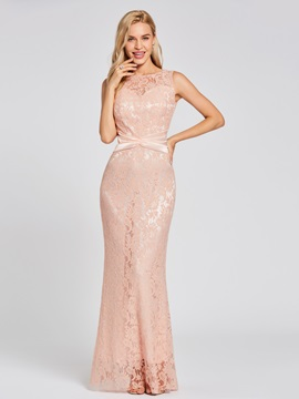 Scoop Neck Lace Mermaid Evening Dress