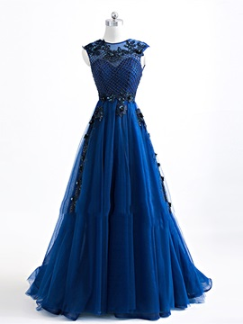A-Line Appliques Jewel Beading Evening Dress