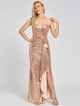 Scoop Ruffles Sequins Sheath Evening Dress & casual Evening Dresses