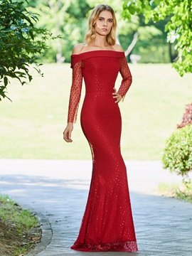 Long Sleeve Off the Shoulder Evening Dress