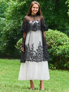 A-Line High Neck Lace Tulle Evening Dress