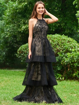 A-Line Halter Lace Backless Evening Dress