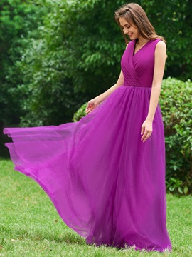 A-Line V-Neck Pleats Backless Evening Dress & Evening Dresses from china