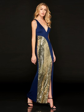 V-Neck Sequins Split-Front Sheath Evening Dress