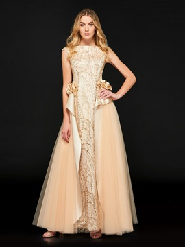 A-Line Sequins Bateau Flowers Sequins Evening Dress