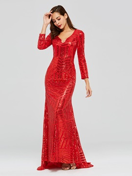 Mermaid Long Sleeves V-Neck Sequins Evening Dress