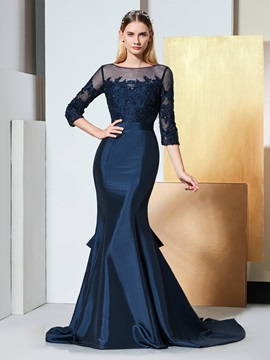Trumpet Bateau Beading Bowknot Lace Evening Dress & Evening Dresses online