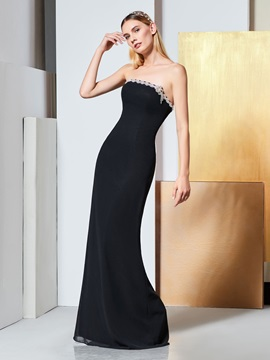 Beading Sheath Strapless Long Evening Dress