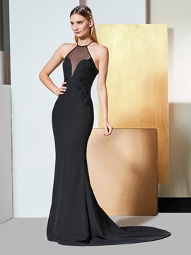 Trumpet Halter Appliques Sequins Evening Dress