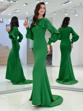 Mermaid Long Sleeves Ruffles Evneing Dress