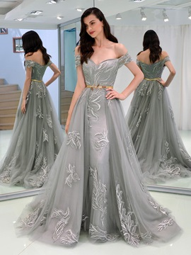 A-Line Appliques Off-the-Shoulder Sashes Evening Dress & romantic Evening Dresses