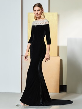 Mermaid Button Beaded Half Sleeves Jewel Evening Dress