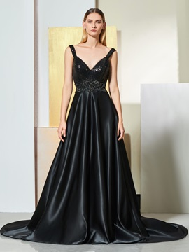A-Line Staps Beading Backless Evening Dress
