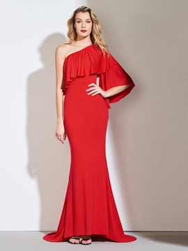 One-Shoulder Trumpet Ruffles Evening Dress