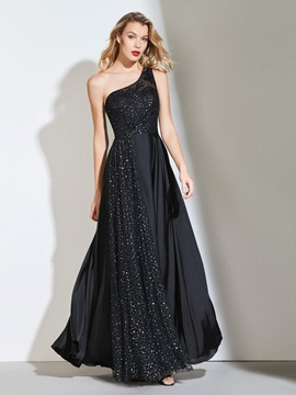 One-Shoulder Appliques Black Prom Dress