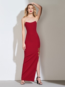 Sheath Scoop Appliques Side-Split Evening Dress