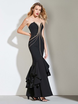 Trumpet Sweetheart Beading Pick-Ups Evening Dress