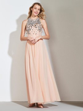 A-Line Beading Halter Sequins Sashes Evening Dress