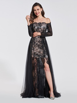 A-Line Lace Split-Front Off-the-Shoulder Evening Dress
