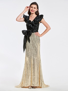 V-Neck Trumpet Bowknot Sequins Evening Dress