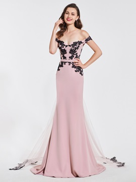 Mermaid Off-the-Shoulder Appliques Sashes Evening Dress & Evening Dresses from china