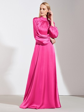 A-Line High Neck Button Long Sleeves Evening Dress