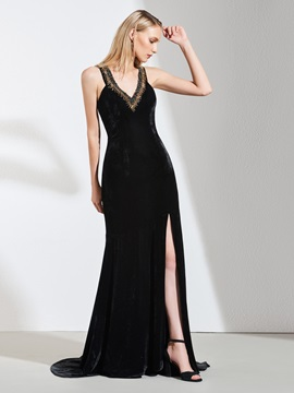 A-Line V-Neck Beaded Split-Front Evening Dress
