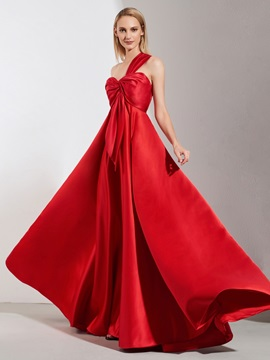 A-Line Pleats One-Shoulder Red Evening Dress