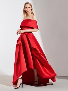 A-Line Off-the-Shoulder Pick-Ups High Low Evening Dress 2019 & casual Evening Dresses
