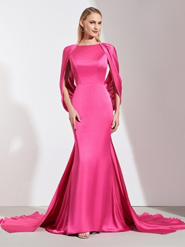 Mermaid Bateau Pleats Backless Evening Dress