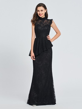 Trumpet Lace Button High Neck Evening Dress 2019