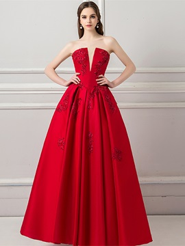 Appliques A-Line Strapless Long Evening Dress