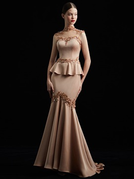 Trumpet Appliques Beading High Neck Evening Dress 2019 & vintage Evening Dresses