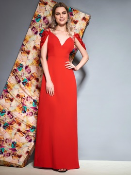 Sequins Sheath Cap Sleeves Red Evening Dress 2019
