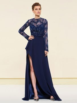 Split-Front Evening Dress with Long Sleeves Lace Jacket