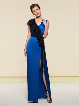 Sheath Lace Split-Front Evening Dress 2019