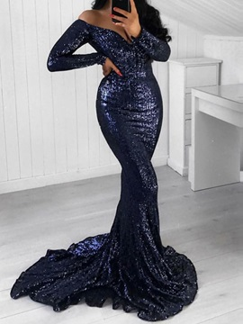 Mermaid Long Sleeves Sequins Evening Dress