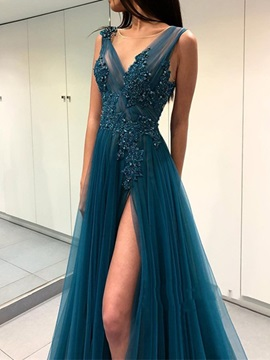 Sleeveless Appliques Floor-Length V-Neck Prom Dress 2019