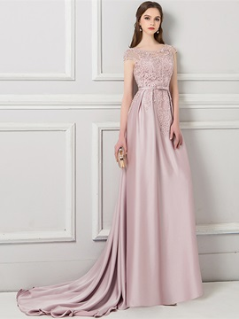 Cap Sleeves Floor-Length Bowknot Court Evening Dress