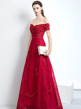 Short Sleeves A-Line Off-The-Shoulder Appliques Evening Dress