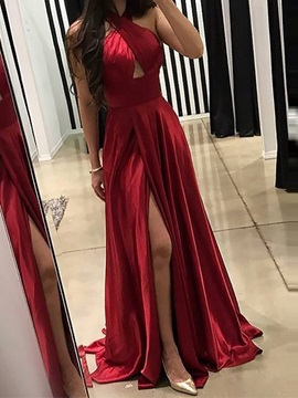 Pleats Floor-Length Sleeveless Sweep Train Evening Dress