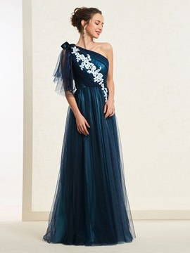 Floor-Length Appliques Short Sleeves A-Line Evening Dress